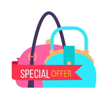 Special offer for fashionable female handbags. Stylish purses with big sale. Accessories exclusive price promotional banner vector illustration. Vectores