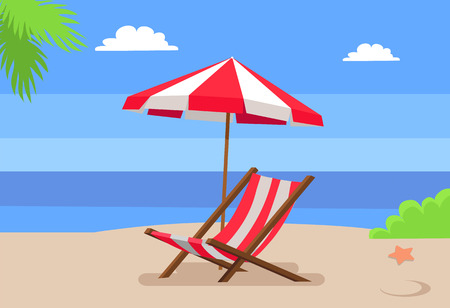 Seaside and hammock-chair under umbrella, palm tree leaves seastar on hot sand, seascape view, background of sea, empty seat for rest vector Standard-Bild - 105603934