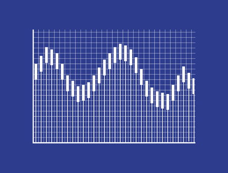 Visual graphic with bars on checkered field and coordinate system. Visualization of statistical data. Monochrome graphic isolated vector illustration.