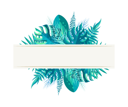 Empty banner tropical plant leaves in blue color. Blank poster with exotic branches from bushes and palms. Tropic frame vector illustration. Ilustração