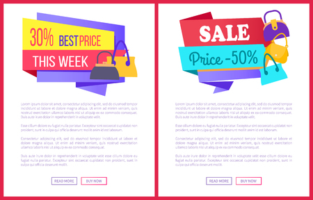 30 best price this week sale 50 off promo labels with women bags on online web posters vector set of advertisement brochures info about discounts 向量圖像