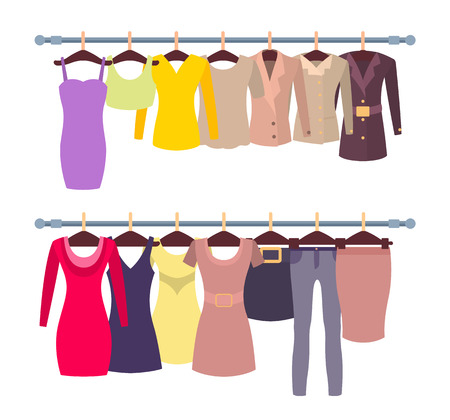 Racks with female shirts and dresses on hangers. Spring clothes for women new collection. Elegant stylish tops gowns isolated vector illustrations Foto de archivo - 105603941