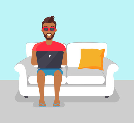 Cheerful bearded man freelancer in sunglasses working at home, vector illustration image with distant freelance worker sitting on white sofa and pillow Illustration