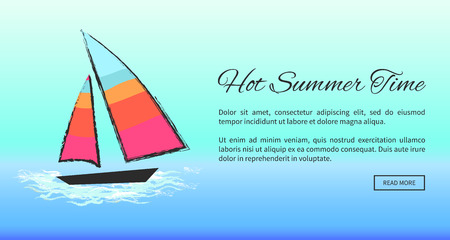 Lovely Summer Poster Depicting Boat at Sea