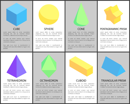Cube sphere cone cuboid tetrahedron prisms set, octahedron figure and triangular pentagrammic shapes, vector illustration colorful geometric elements Stock Photo