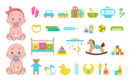 Baby s toys collection icons vector illustration of various playthings set two cute small infants, girl and boy with horse car, teddy bear yellow duck Ilustração