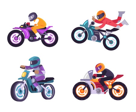 Motorized bike racers bicyclist isolated on white background, people on moped sportbikes vector illustration bikers ride on modern motorbikes, do tricks