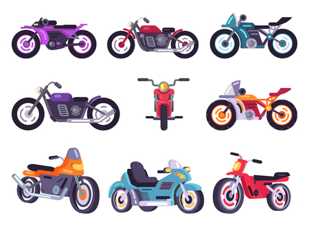 Motorbikes classical collection, means of transport various types and shapes creative motorcycles set vector illustration isolated on white background Illustration