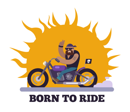 Born to ride poster with motorcycle and skull flag, man having tattoo on hand riding bike, banner headline, vector illustration isolated on white