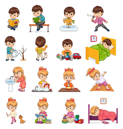 Female and male collection of boy girl activities, sleeping in bed, brushing teeth, reading books, playing games set isolated on vector illustration