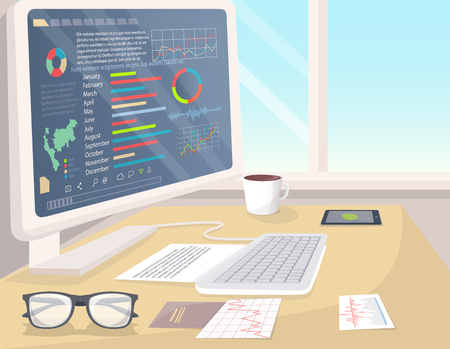 Business statistics on white PC, bright office vector illustration of analytics information visualized in infographics set, coffee cup and glasses