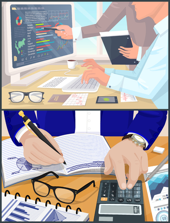 Business atmosphere collection with laptop and informational data, graphics charts, hand of man writing down calculated info, vector illustration