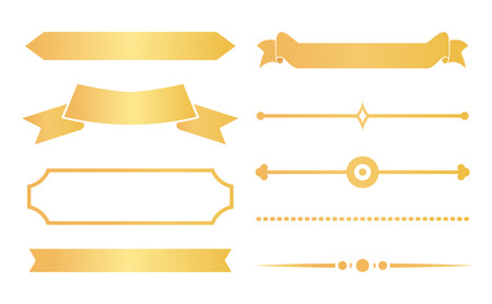 Gold ribbons with decor for special certificates set. Elegant adornment elements from documents and diplomas isolated cartoon vector illustrations.