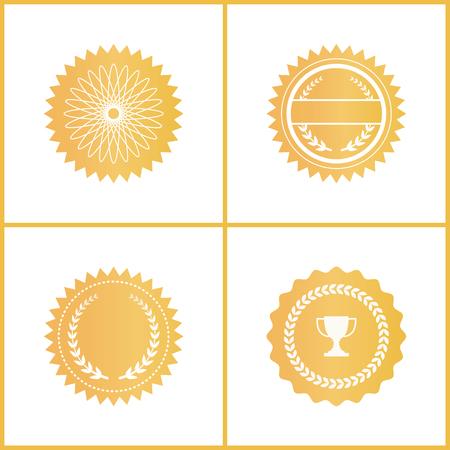Emblèmes de certificat or rond pour l'ensemble de documents. Symboles d'approbation brillants avec couronne de laurier et coupe trophée isolés illustrations vectorielles plat de dessin animé.