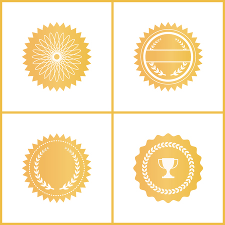 Round gold certificate emblems for documents set. Shiny approval symbols with laurel wreath and trophy cup isolated cartoon flat vector illustrations.