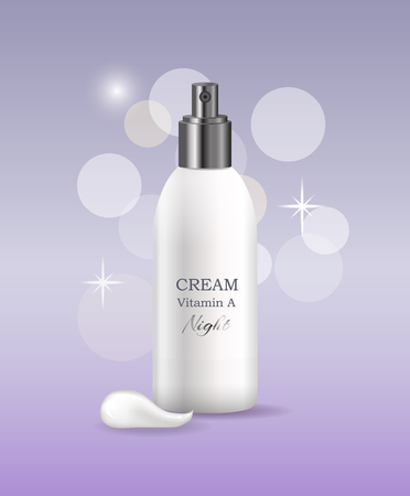 Night cream with vitamin A in bottle that has convenient dispenser glimmery promo poster. Cosmetic means for skincare realistic vector illustration.