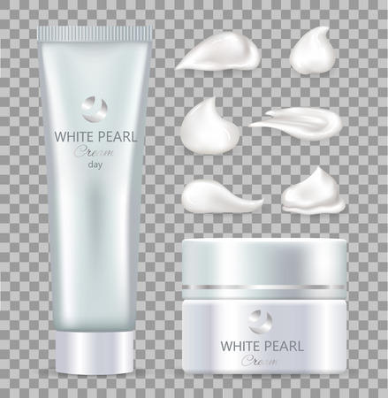 White pearl day cream for skin inside tube and box. Skincare cosmetics of high quality with minerals in containers isolated vector illustrations.