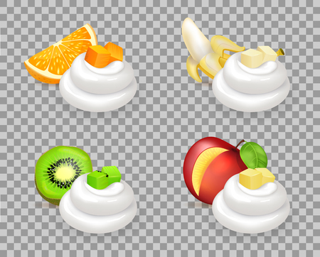 Delicious tropical fruits with whipped cream swirls. Juicy orange, sweet banana, sour kiwi and tasty nectarine cubes isolated vector illustrations.
