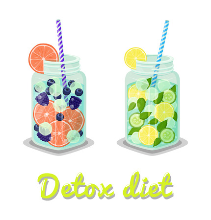 Detox diet drinks collection, jars filled with ice grapefruit lemon slices, mint leaves and blueberry, banner headline isolated on vector illustration