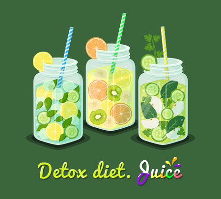 Detox diet juice collection, poster mug with refreshing drink cocktail containing mint leaves, lemon cucumber ice cubes and straws vector illustration