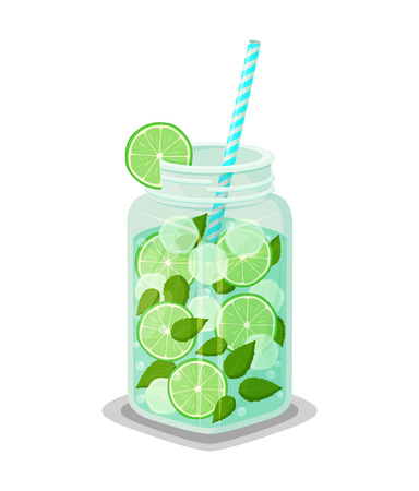 Mug refreshing drink mojito cocktail with mint leaves, green lemon round slices, pieces of ice and straw vector illustration, detox diet jar energy beverage