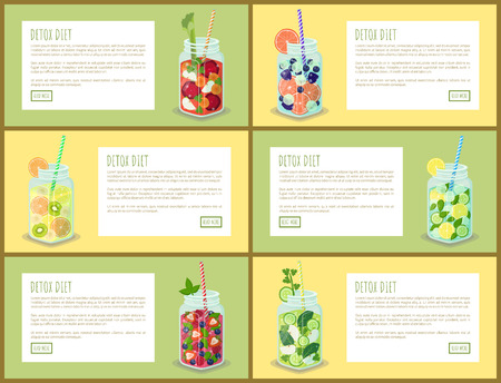 Detox diet drink pages set, collection with jar and beverages made of raspberries, banana slices, green kiwi, beetroot pieces vector illustration