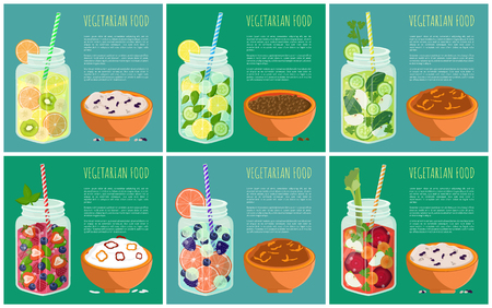 Set of posters vegetarian food with refreshing summertime detox diet juice with fruits pieces and vegetables, bowl of rice buckwheat wheat porridge