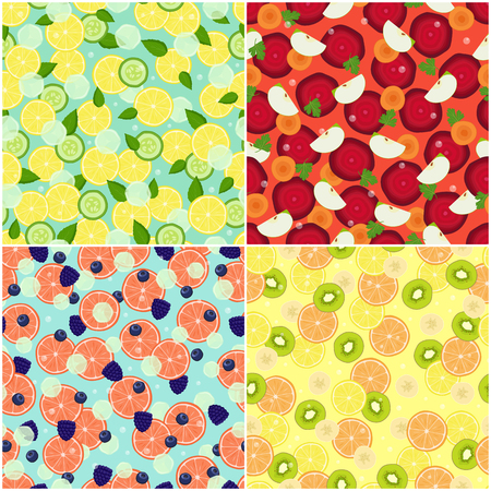 Set of healthy organic fruits and vegetables seamless pattern with cut grapefruits, blueberries and blackberries, beet and carrot detox diet ingredients Ilustração