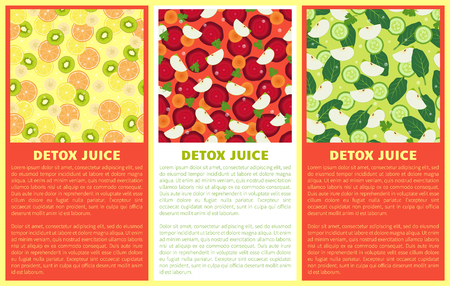 Detox juice poster set ingredients refreshing drink citrus fruits, green kiwi, cut beet slices, carrot and apple pieces, cucumber and bay leaves vector