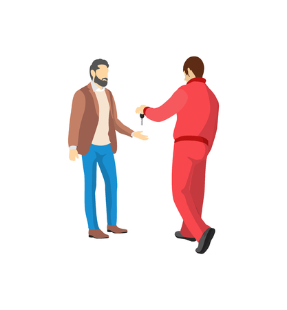 Mechanic in red overalls giving key from vehicle colorful vector illustration isolated on white background, bearded owner of car dressed brown jacket