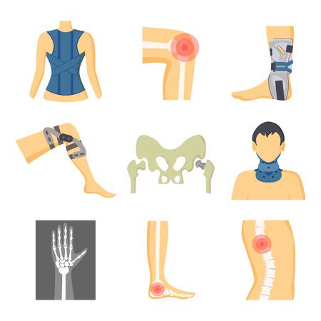 Herramientas de fijación de ortopedia y dolor en la imagen de los huesos, ilustración vectorial en color con retenedores médicos en las piernas, cuello hacia atrás, diferentes partes del esqueleto Ilustración de vector