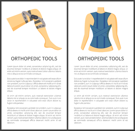 Orthopedic tools banners collection, headline and text sample, bandage spine knee object designed for supporting, posters set vector illustration