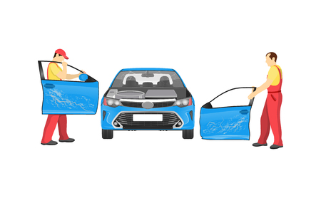 Crashed auto in repair workshop colorful banner, vector illustration with men mechanics dresses coveralls replacing doors and inspecting blue vehicle Illustration