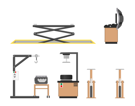Car repair service and instruments collection, vector illustration with two lift tools for suspending vehicles, auto engine wheel installation devices