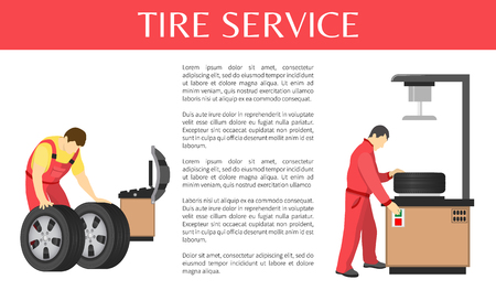 Tire service colorful vector banner of car garage, isolated on white illustration with men in work clothing, text sample and special tools for wheels