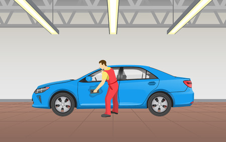 Car polishing in garage, job of man wearing uniform and washing transport with sponge, room elighted lamps lights, auto service vector illustration