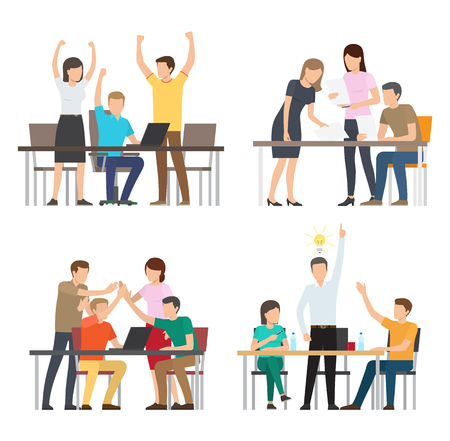Successful team consisting of people group giving high-five and discussing plans different business idea with man and electric bulb vector illustration Illustration
