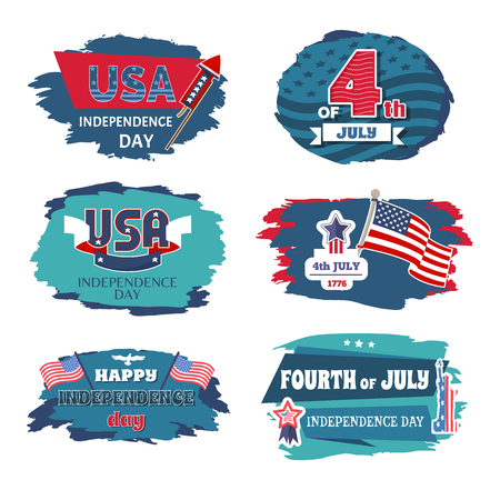 Fourth of July USA happy Independence day posters 4 th, vector illustration ribbons with text stars flags and bald eagle, celebration banners set collection Illustration