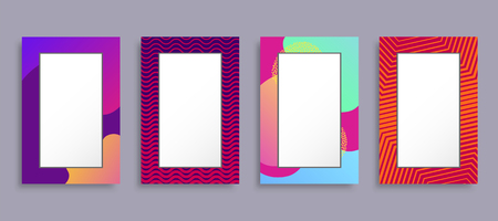 Colorful photo frames set vector illustration, rectangular shape border boxes with various colors and ornament patterns isolated on grey background