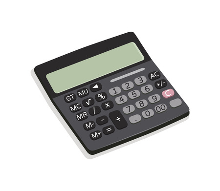 Calculator mechanical device, useful thing for business and financial field, supply with buttons vector illustration isolated on white background Vektoros illusztráció