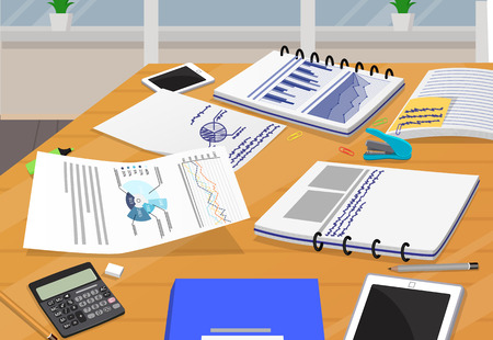 Office paper documentation vector illustration with charts data visualization, calculator and mobile gadgets, supplies stuff workplace design poster