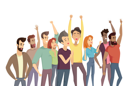 People crowd and pastime, humans raising hands up, demonstration throng, men women shouting smiling having fun, vector illustration on white background Illustration