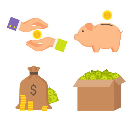 Money boxes and human hands color icons collection vector illustration pink piggy animal, full cloth bag with currencies coins, containers set Illustration