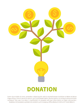 Donation promotional emblem with money on tree grown from light bulb. Conceptual label about how to get investment idea vector illustration isolated Çizim