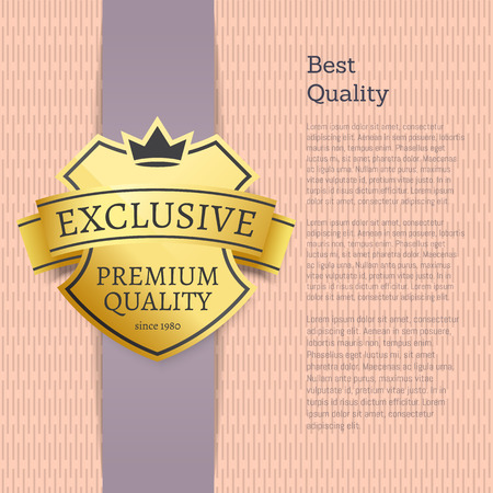 Best quality choice exclusive product gold label. Shiny warranty of premium stuff and vertical banner with sample text vector illustration. Çizim