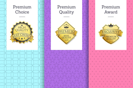 Premium quality and choice, award posters collection, set of banners with headlines sample, logos approving items isolated on vector illustration