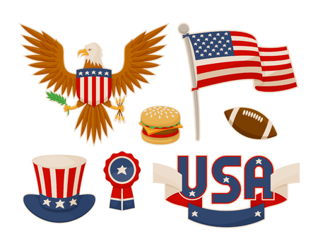 Various America symbols vector set illustrations, eagle and burger american football ball flag, uncle s Sam hat near round bundle, USA label Vettoriali