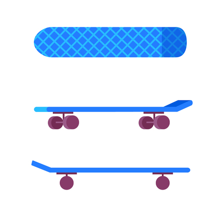 Skateboards blue color, consisting of wheels, print made up squared lines crossing together, skateboarding board top and side view, vector