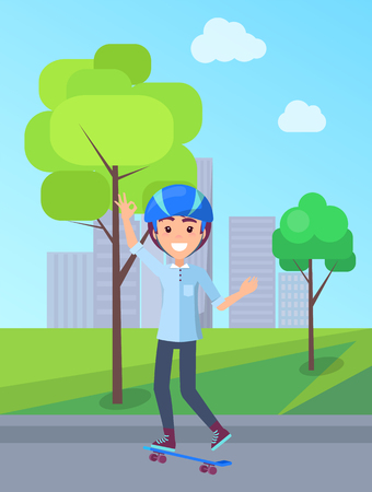 Skateboarding person in park, teenage boy and skating bord, male wearing helmet isolated vector illustration on background of skyscraper buildings Illustration