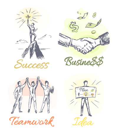 Success and business collection of posters with headlines and businesspeople, teamwork and idea represented on paper isolated on vector illustration